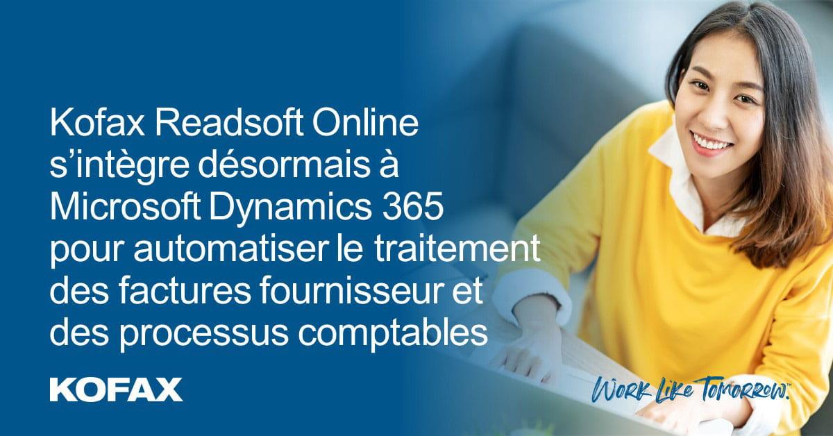 Kofax Readsoft Online s'intègre désormais à Microsoft Dynamics 365 pour automatiser le traitement des factures fournisseur et des processus comptables