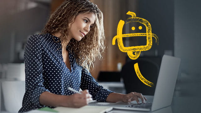 Woman on Computer with Robot